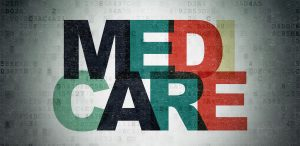 The Word Medicare Stacked Medi on top and Care on bottom