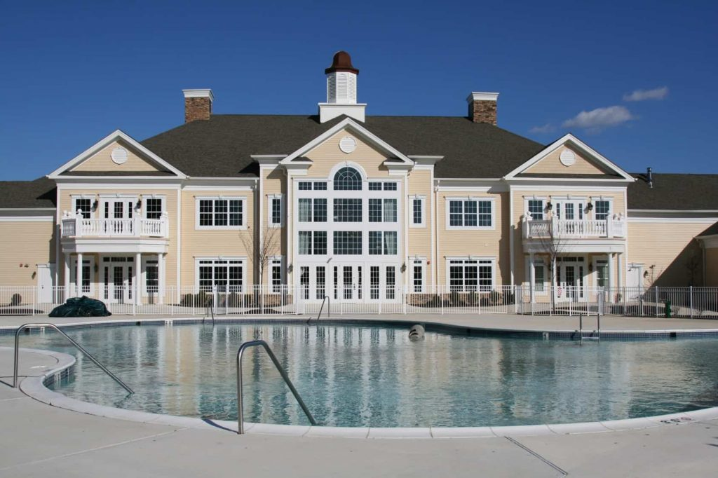 Clubhouse and pool of an active adult community